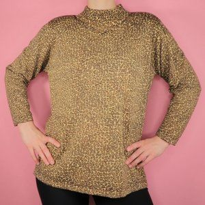 Vintage Turtleneck Sweater Cheetah Animal Print L